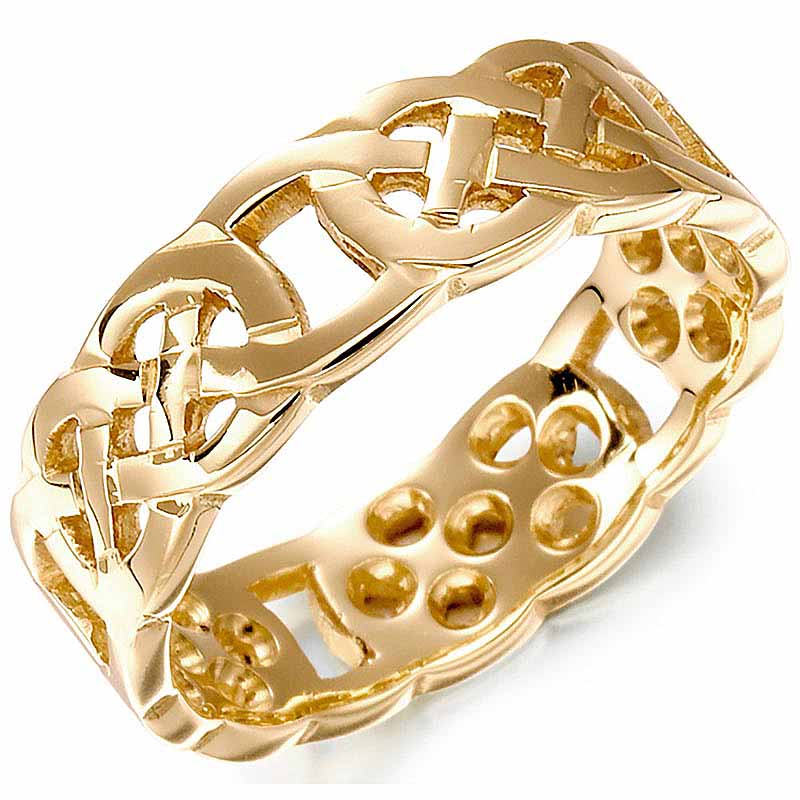 Irish Wedding Ring - Ladies Gold Celtic Knot Wedding Band