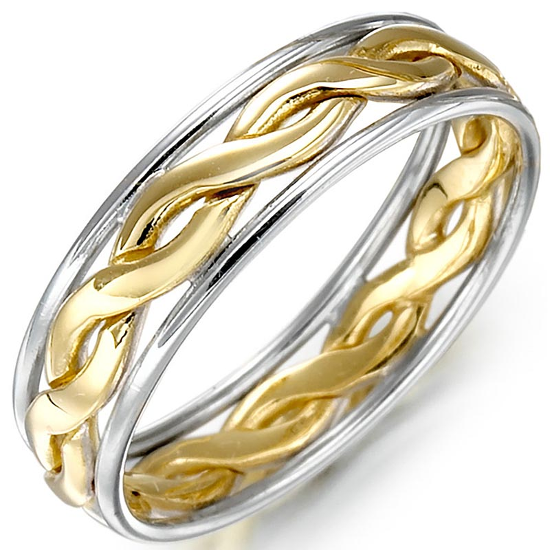 Irish Wedding Ring - Ladies Gold Two Tone Celtic Knot Wedding Band