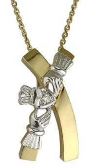 14k Yellow and White Gold Claddagh Kiss Pendant