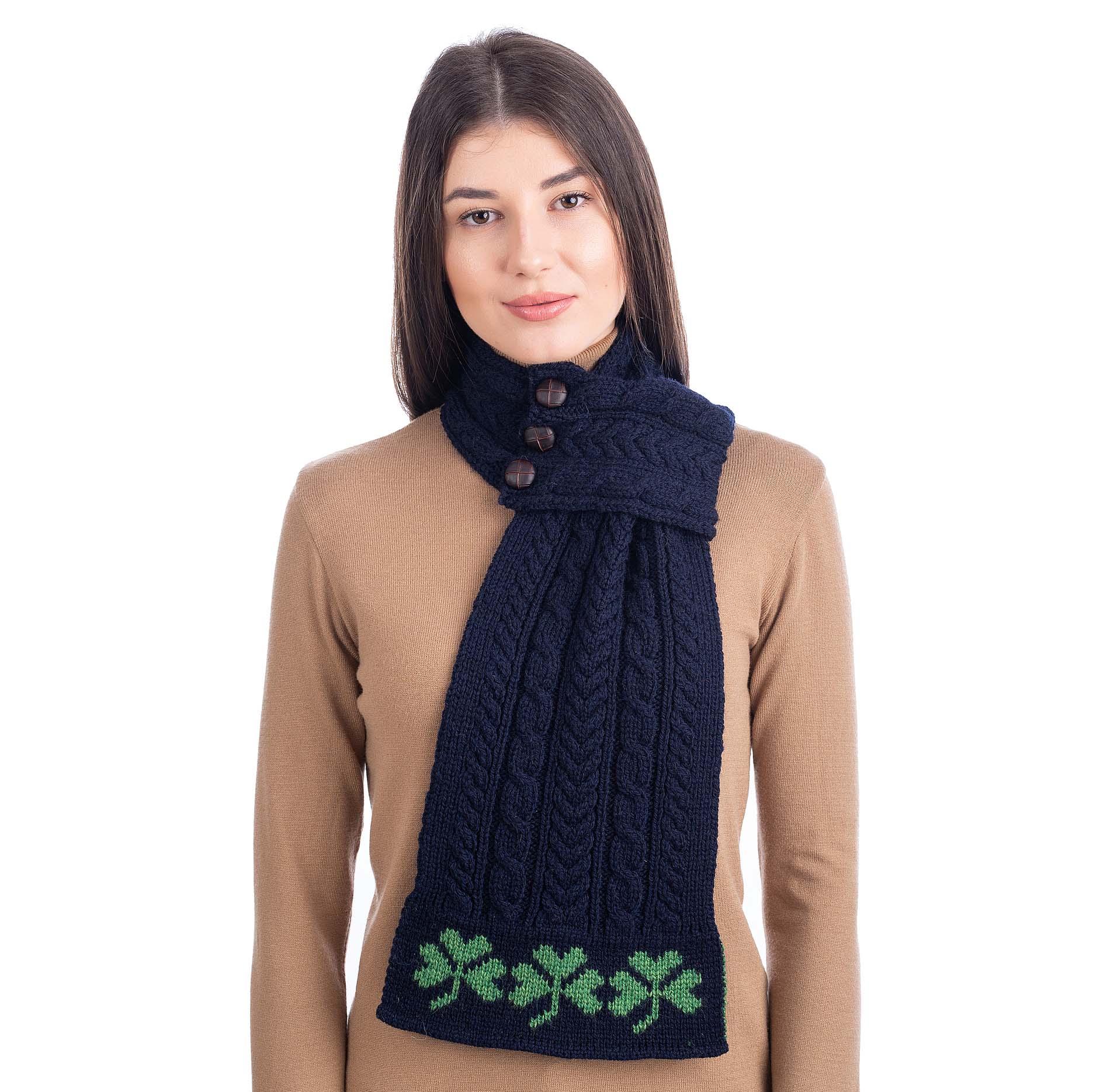 Irish Scarf | Merino Wool Aran Knit Shamrock Pattern ...
