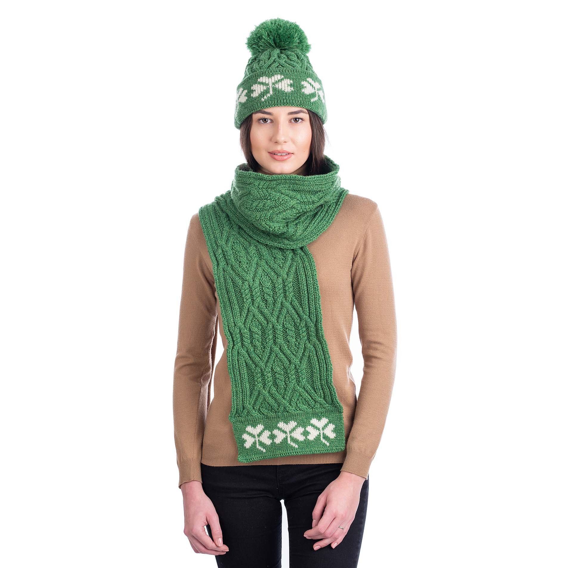 Irish Scarf | Celtic Tree of Life Merino Shamrock Aran Knit Ladies Scarf