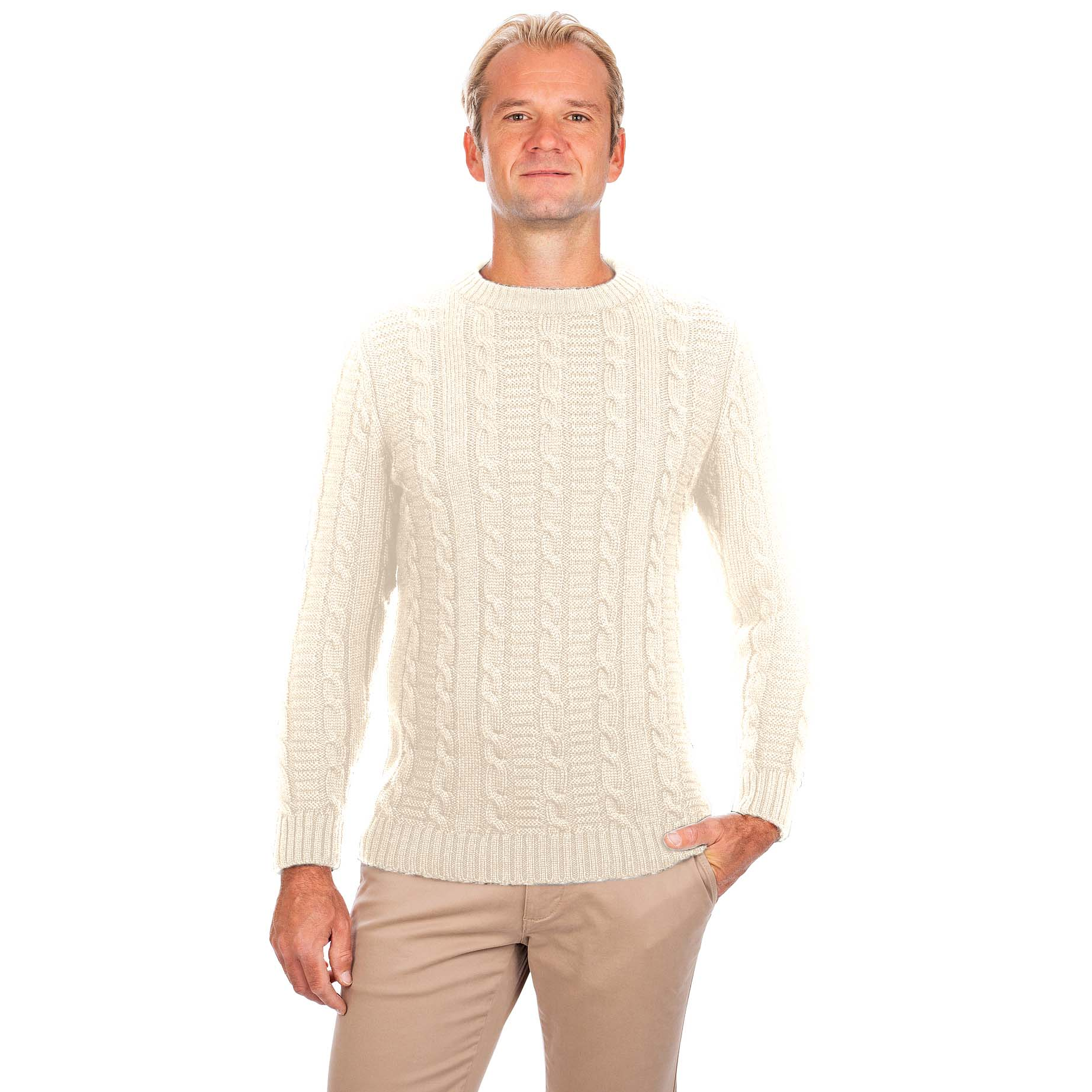 Irish Sweater | Cable Knit Crew Neck Mens Sweater