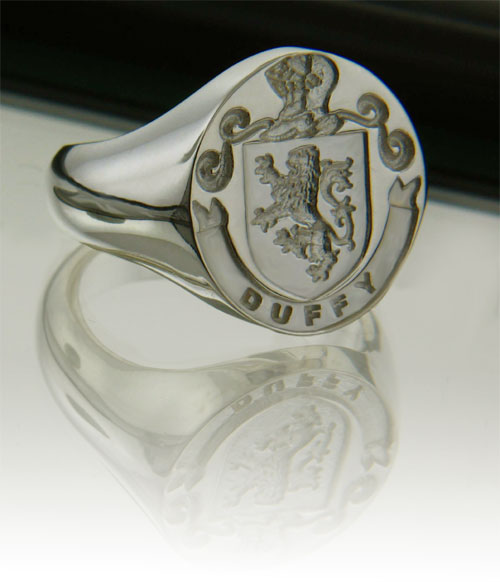 Irish Rings - Personalized Sterling Silver Coat of Arms and Mantle Ring - Large