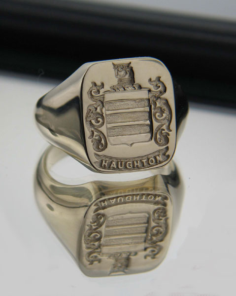 Irish Rings - Sterling Silver Personalized Coat of Arms Cushion Shaped Ring