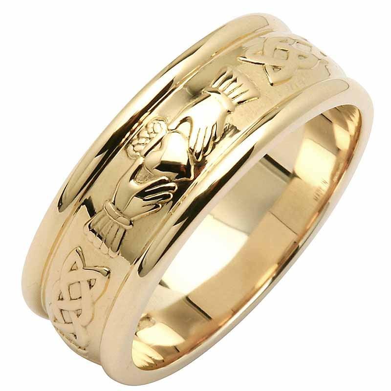 Irish Wedding Ring Mens Wide Corrib Claddagh Wedding Band at