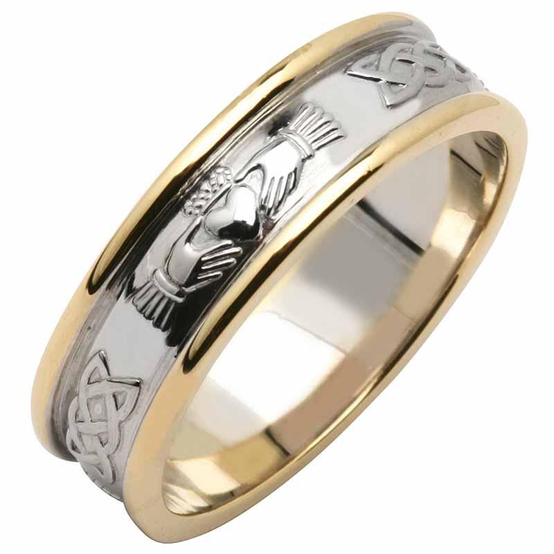 Irish Wedding Ring Men S 14k Two Tone Yellow White Gold Claddagh Band