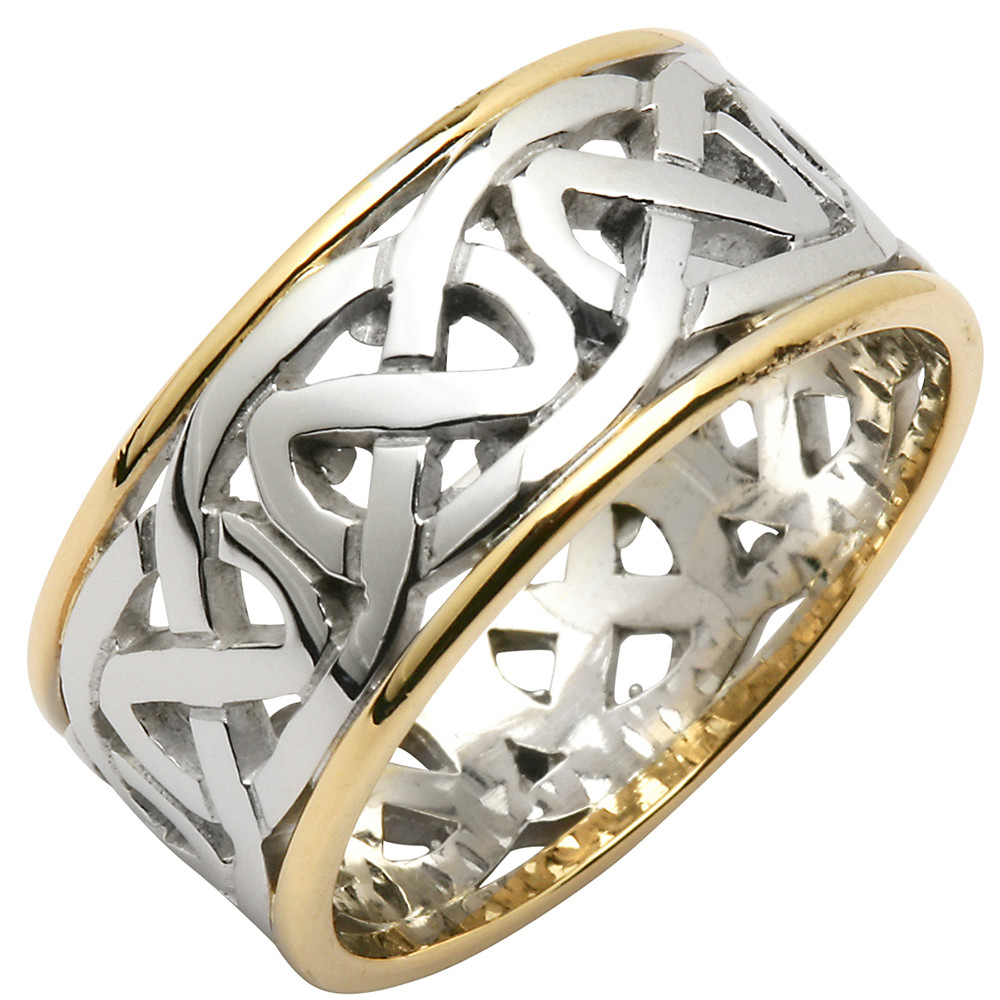 Irish Wedding Ring - Ladies Celtic Knot Wide Pierced Sheelin Wedding Band with Yellow Gold Rims