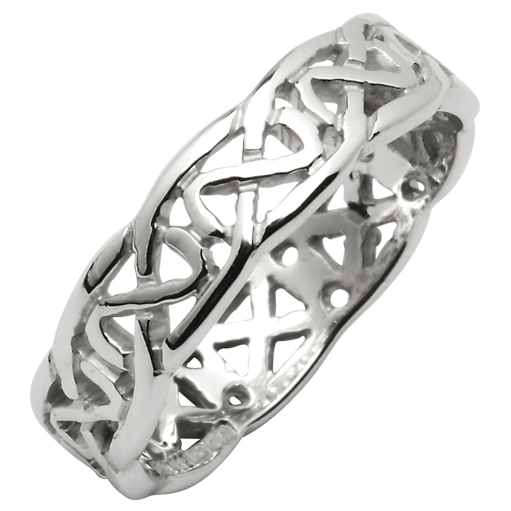 Irish Wedding Ring - Celtic Knot Narrow Pierced Sheelin Mens Wedding Band