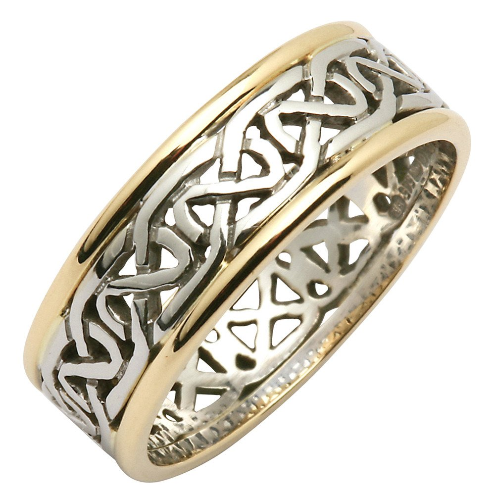 It is just an image of Irish Wedding Ring - Mens Celtic Knot Narrow Pierced Sheelin Wedding Band with Yellow Gold Rims