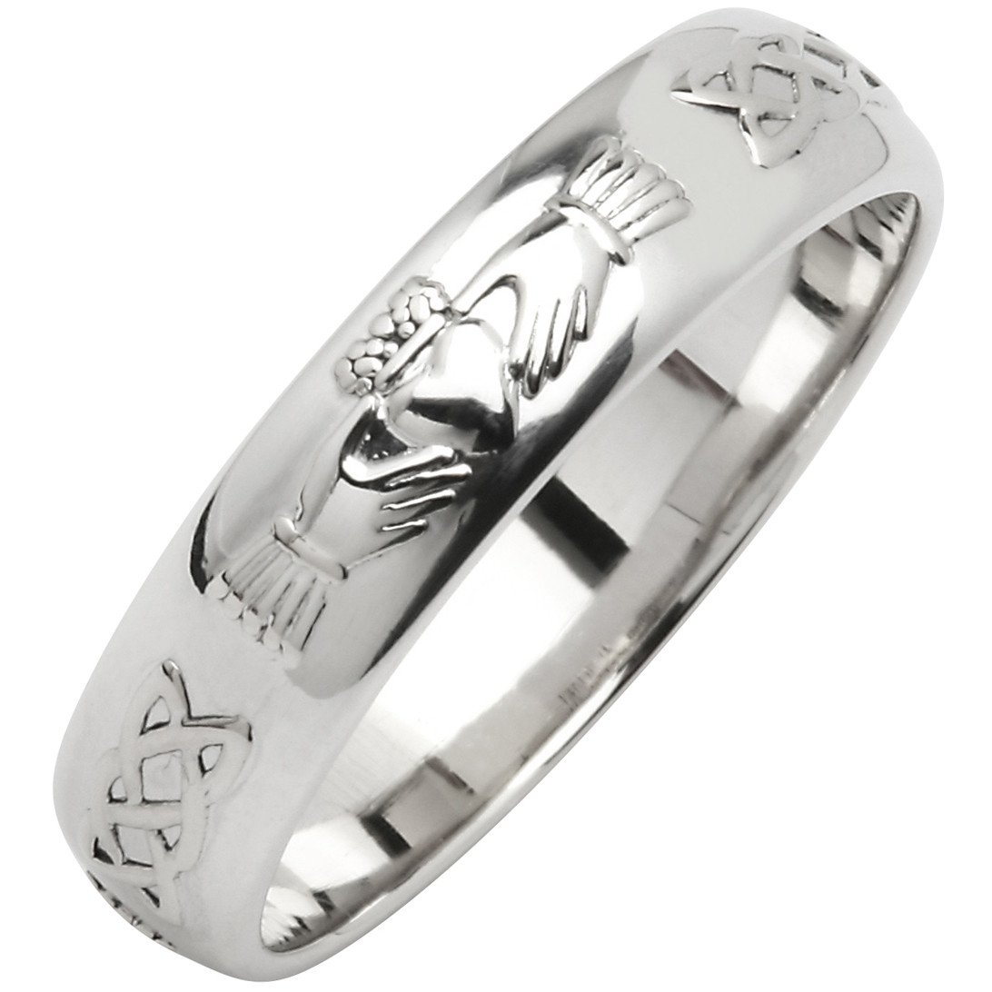 Irish Wedding Ring - Men's Narrow Sterling Silver Claddagh Celtic Knot Corrib Wedding Band - Comfort Fit