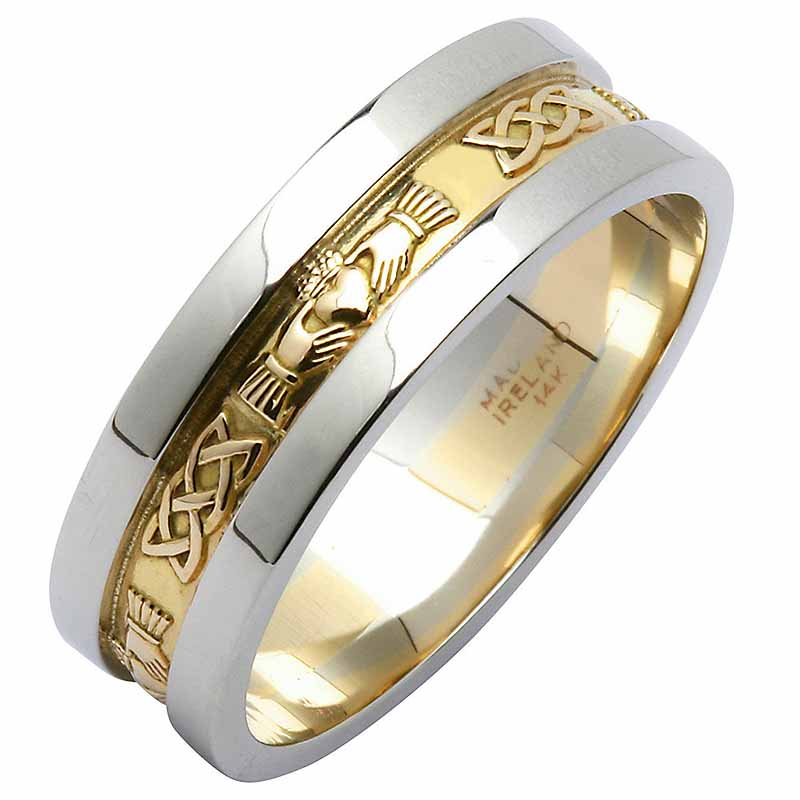 Irish Wedding Ring - Ladies Yellow Gold With White Gold Rims Claddagh Wedding Band