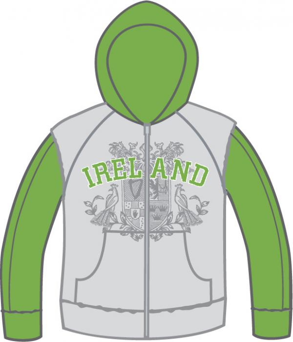 Ladies Ornate Ireland Logo Hooded Sweater