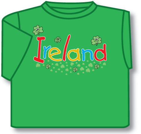 Kids Smiling Shamrocks Ireland Irish T-Shirt - Green