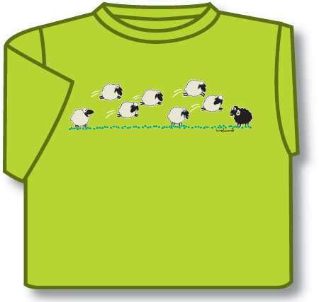 Kids T-Shirts: Kids T-Shirts: Kids Dancing Sheep T-Shirt (Lime Green)