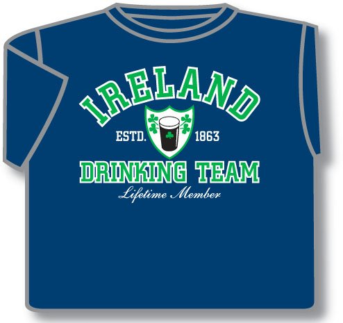 Irish T-Shirt - Ireland Drinking Team (Blue)