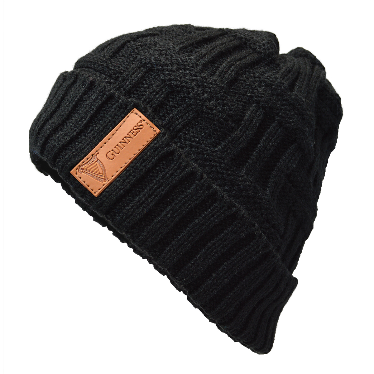 irish hats guinness black beanie with leather patch at irishshop com gfja10226 irish hats guinness black beanie with leather patch