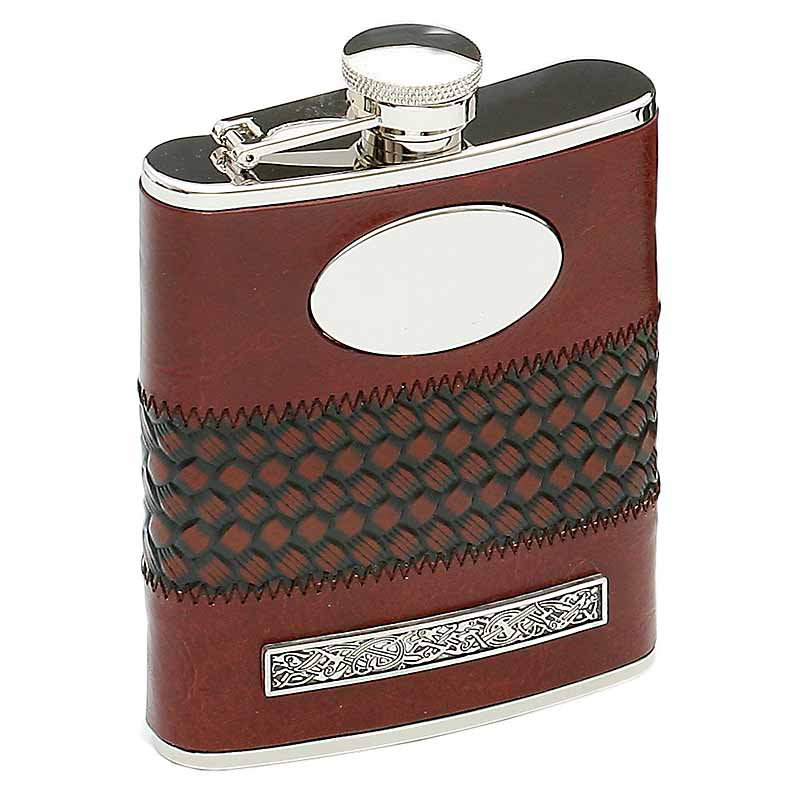 Irish Whiskey Flask Stainless Steel Personalized Leather Bound Celtic Pewter Detail