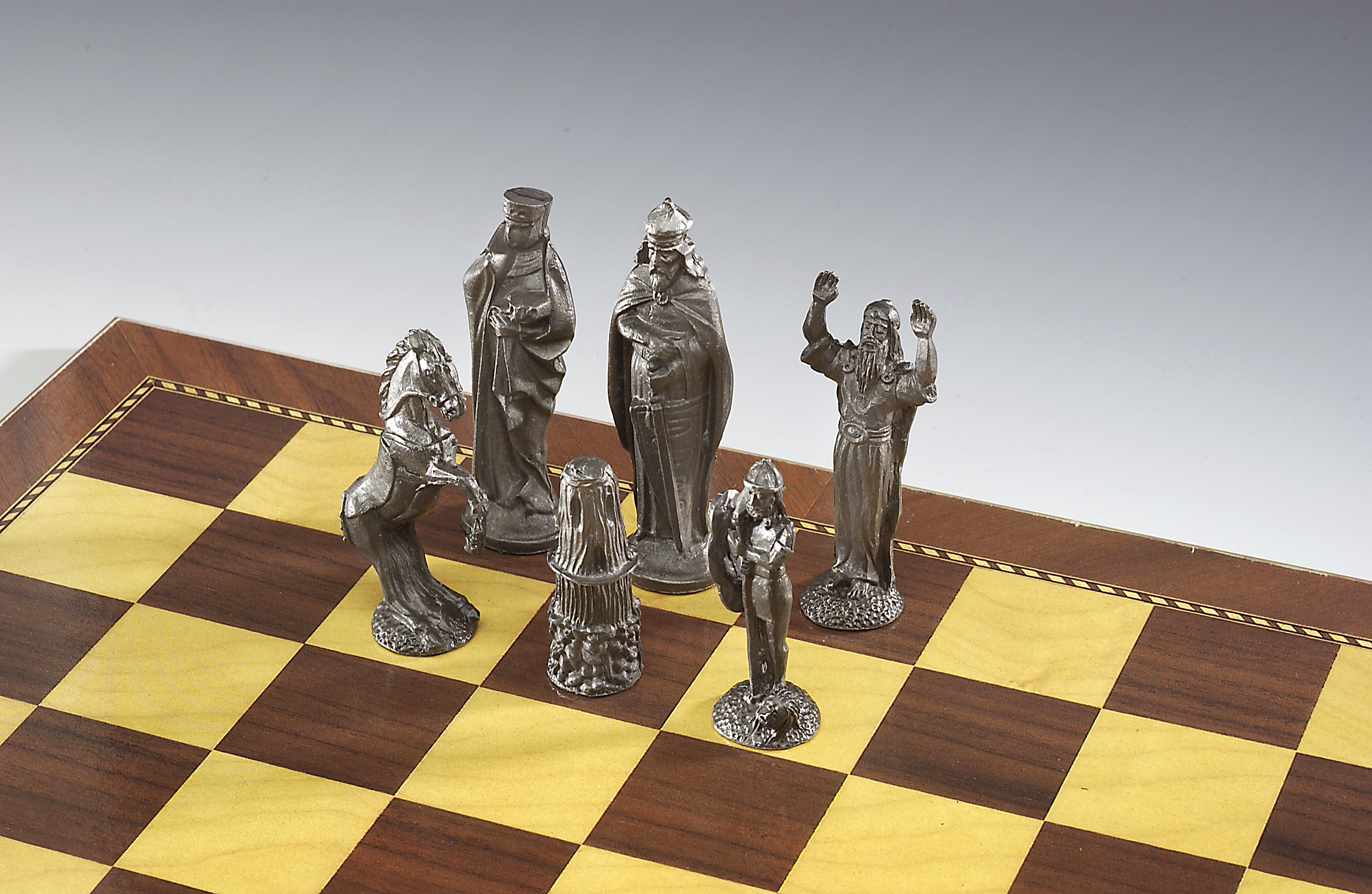 Irish Pewter Celtic Chess Set & Wooden Board