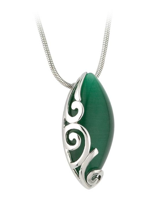 Celtic Pendant - Sterling Silver Green Oval Celtic Pendant with Chain