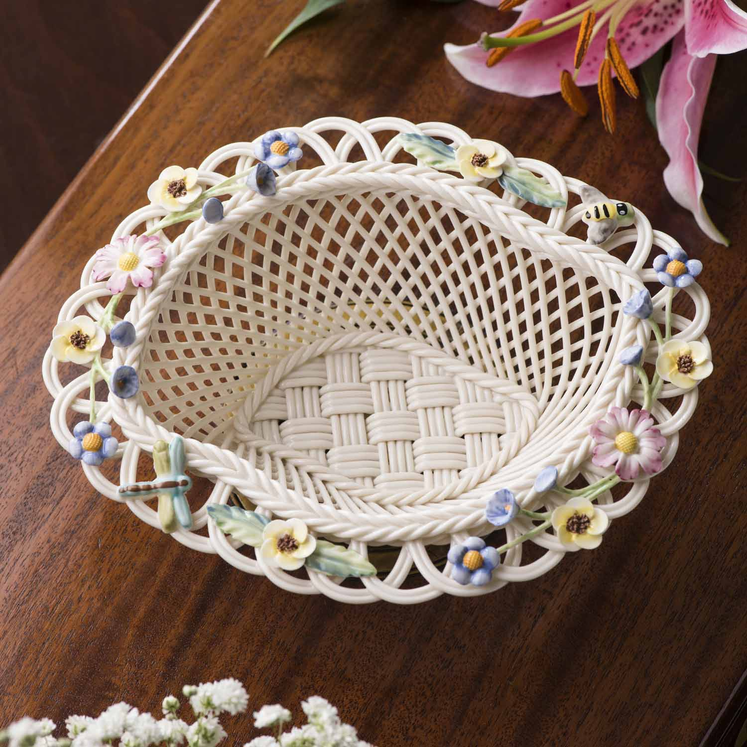 Belleek Pottery | Irish Living Summer Flowers Basket