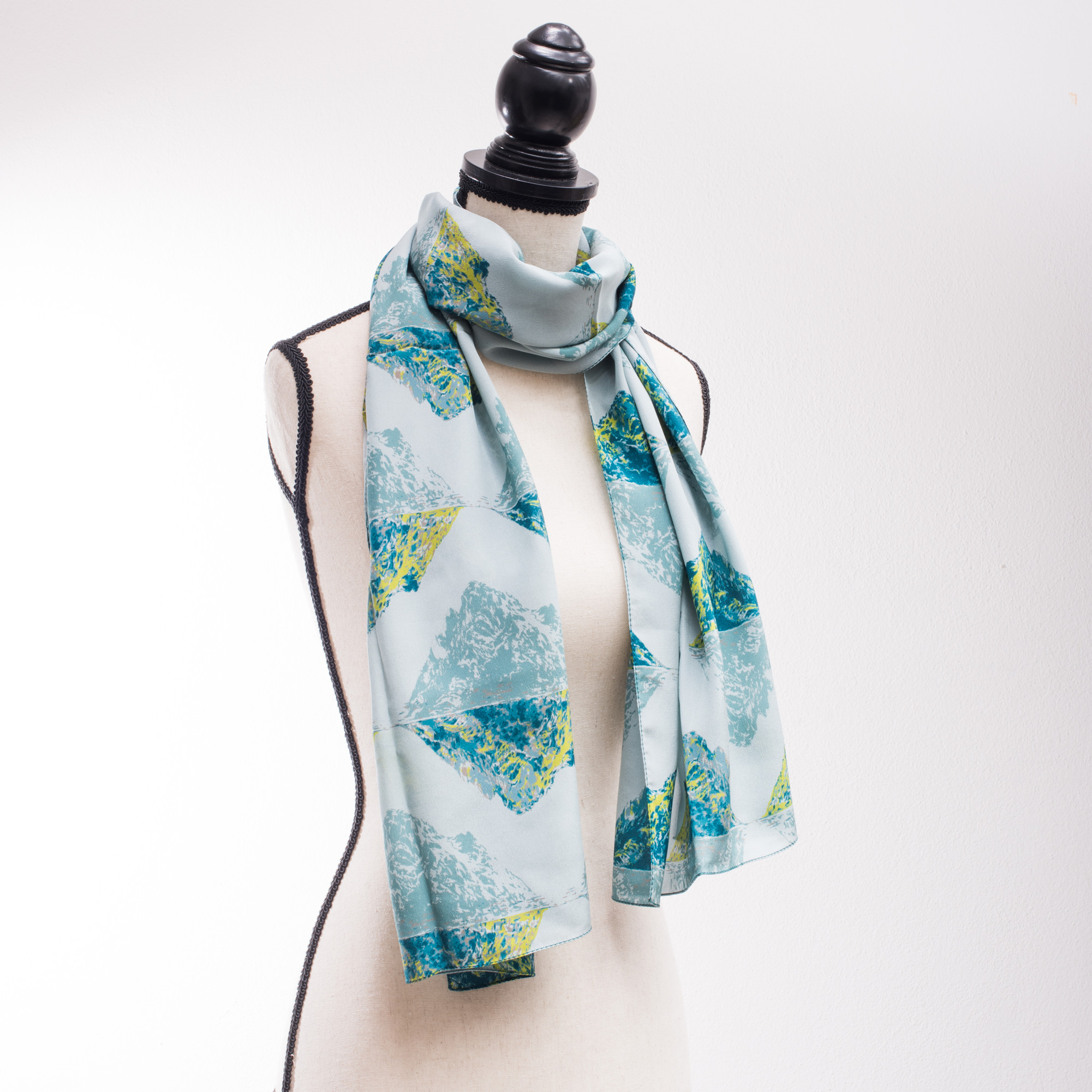 Irish Clothing | Skellig Ireland Pattern 100% Silk Scarf