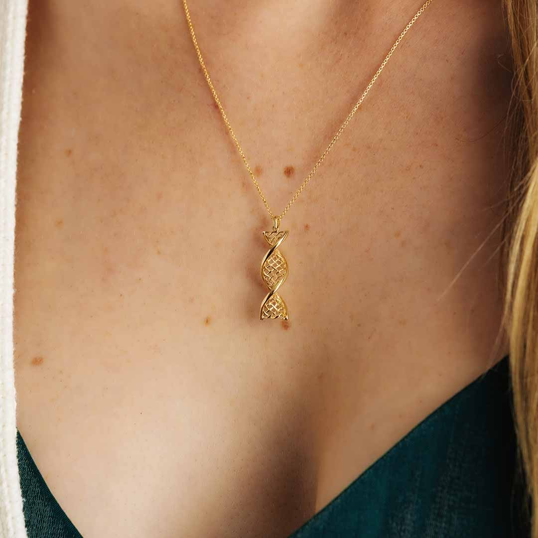 Irish Necklace | 14k Yellow Gold Celtic DNA Pendant
