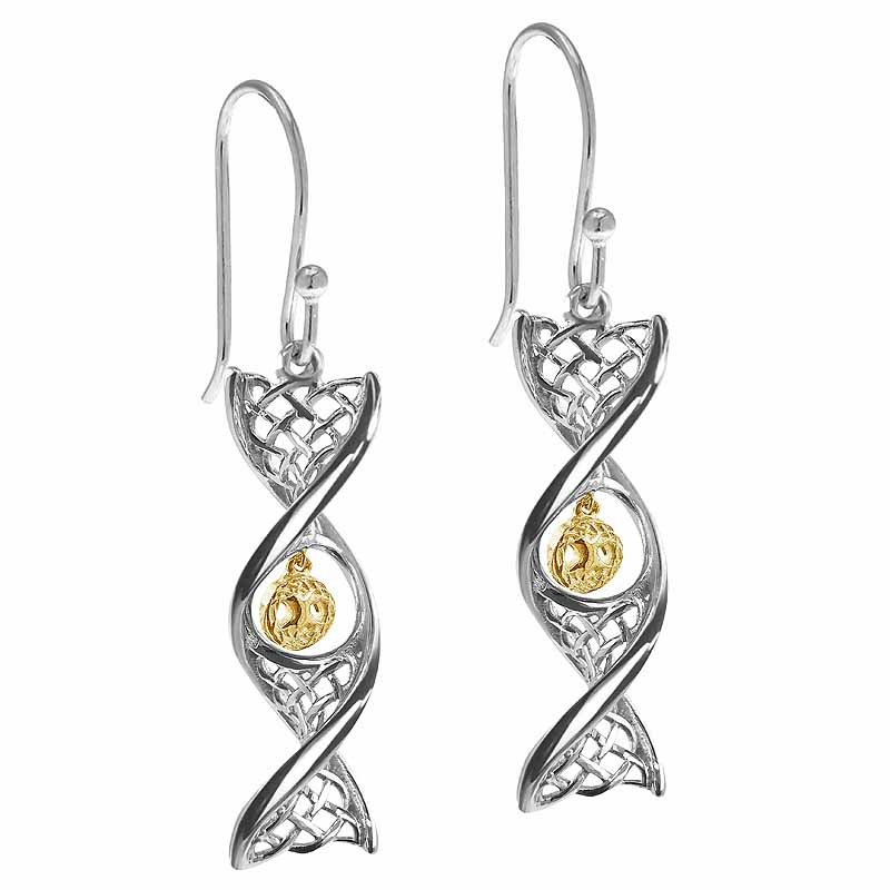 Irish Earrings | Sterling Silver With Yellow Gold Tree of Life Celtic DNA Earrings