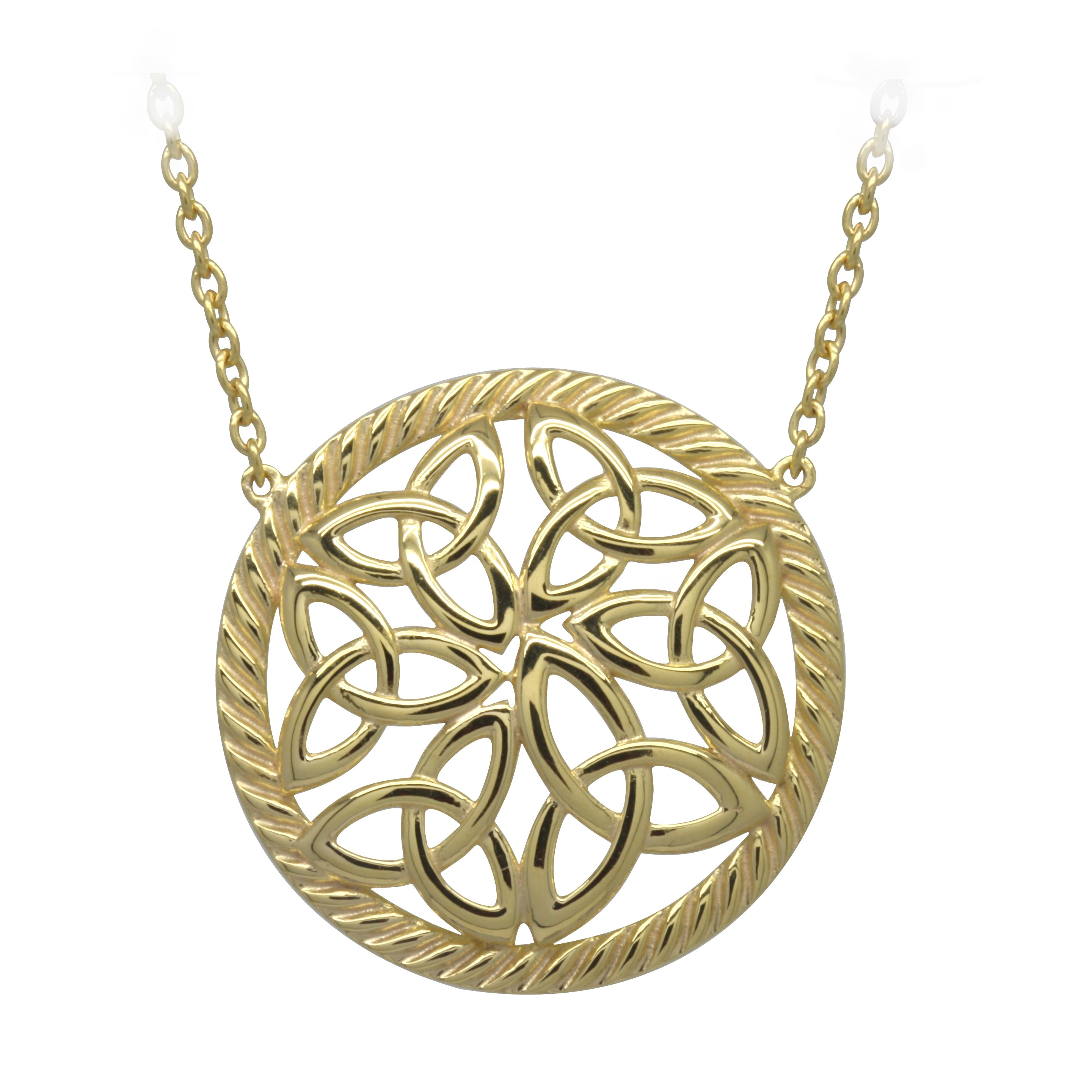 Irish Necklace | Gold Plated Sterling Silver Trinity Knot Round Pendant