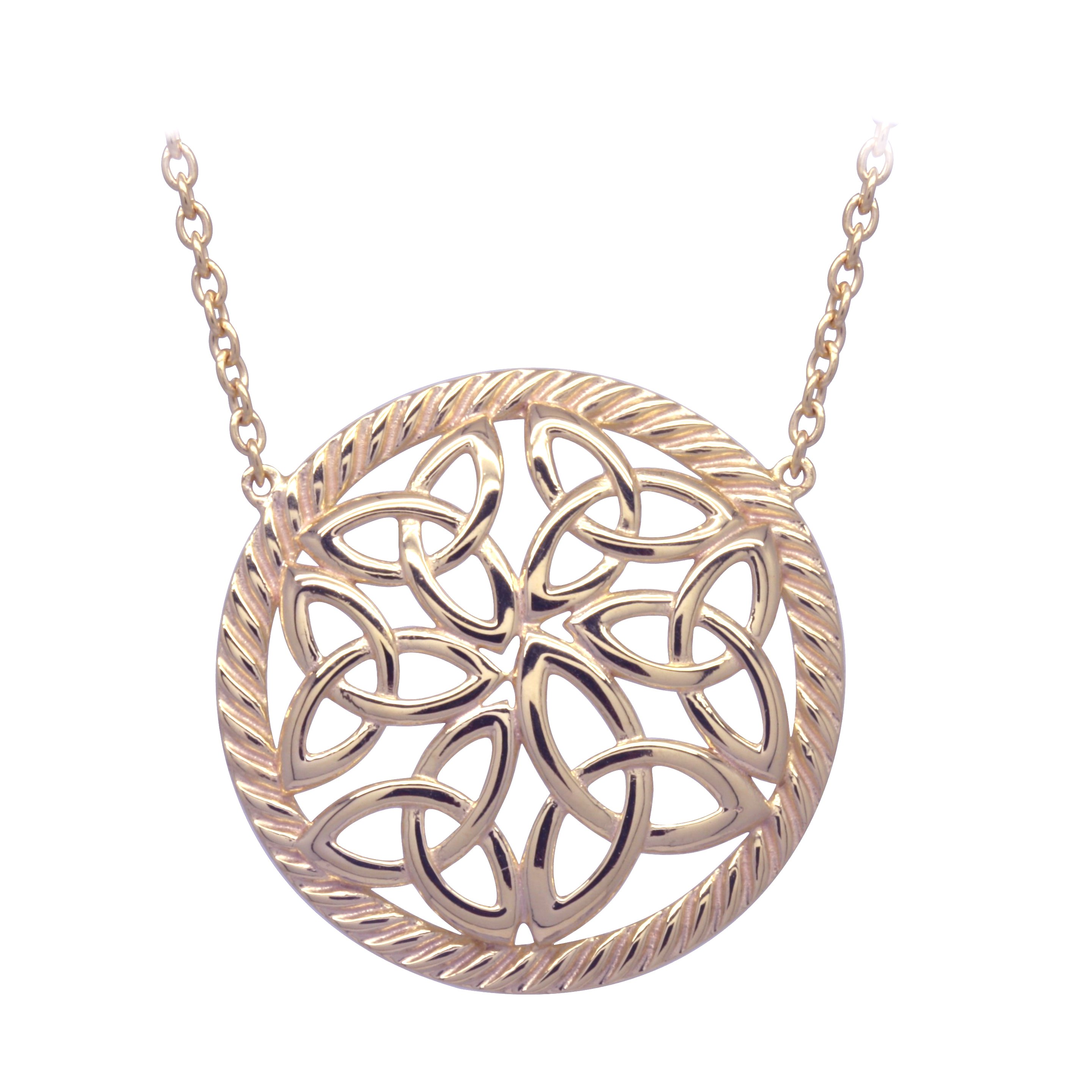 Irish Necklace | Rose Gold Plated Sterling Silver Trinity Knot Round Pendant