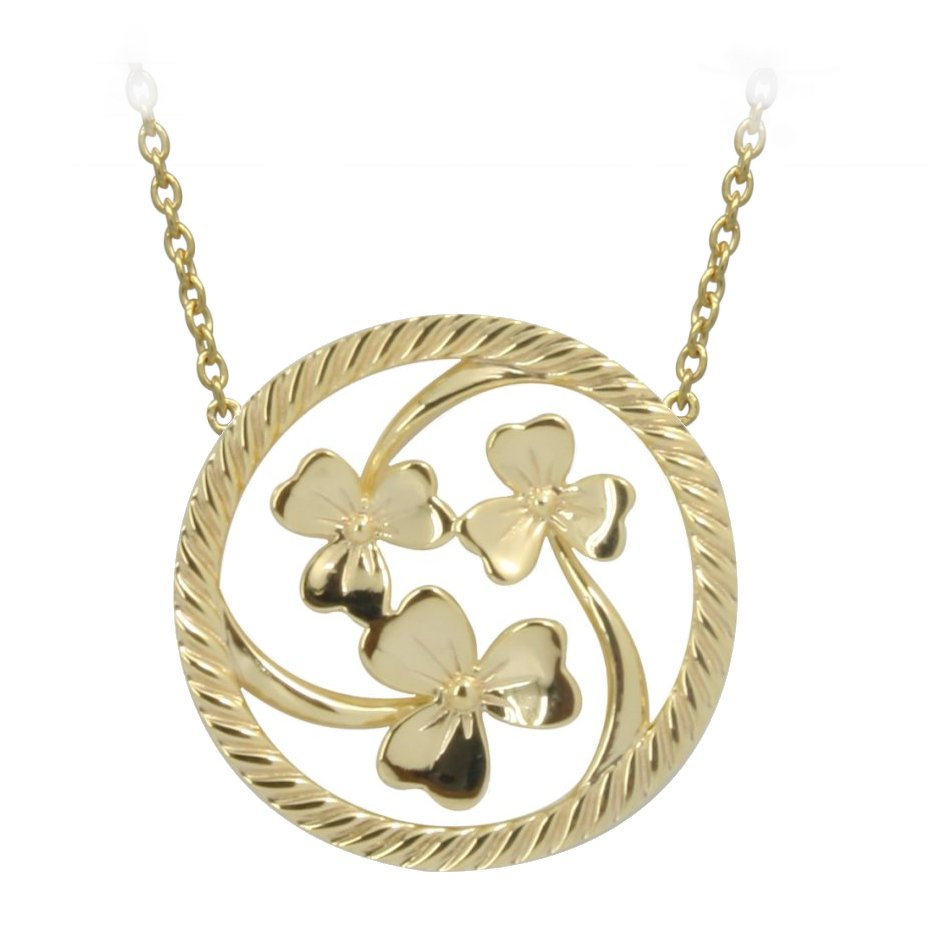 Irish Necklace | Gold Plated Sterling Silver Shamrock Round Pendant