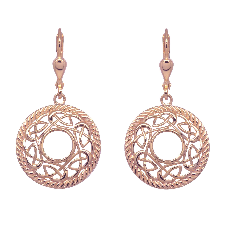 Irish Earrings Rose Gold Plated Sterling Silver Round Celtic Knot Earrings At Irishshop Com Ijjm17199rgp