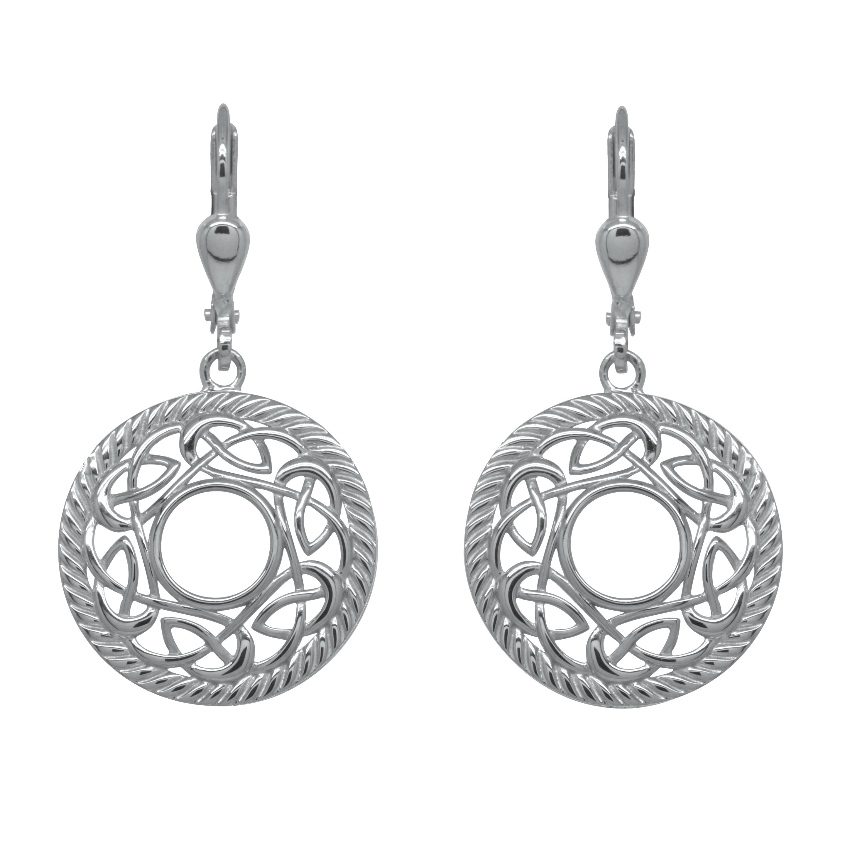 Irish Earrings | Rhodium Plated Sterling Silver Round Celtic Knot Earrings