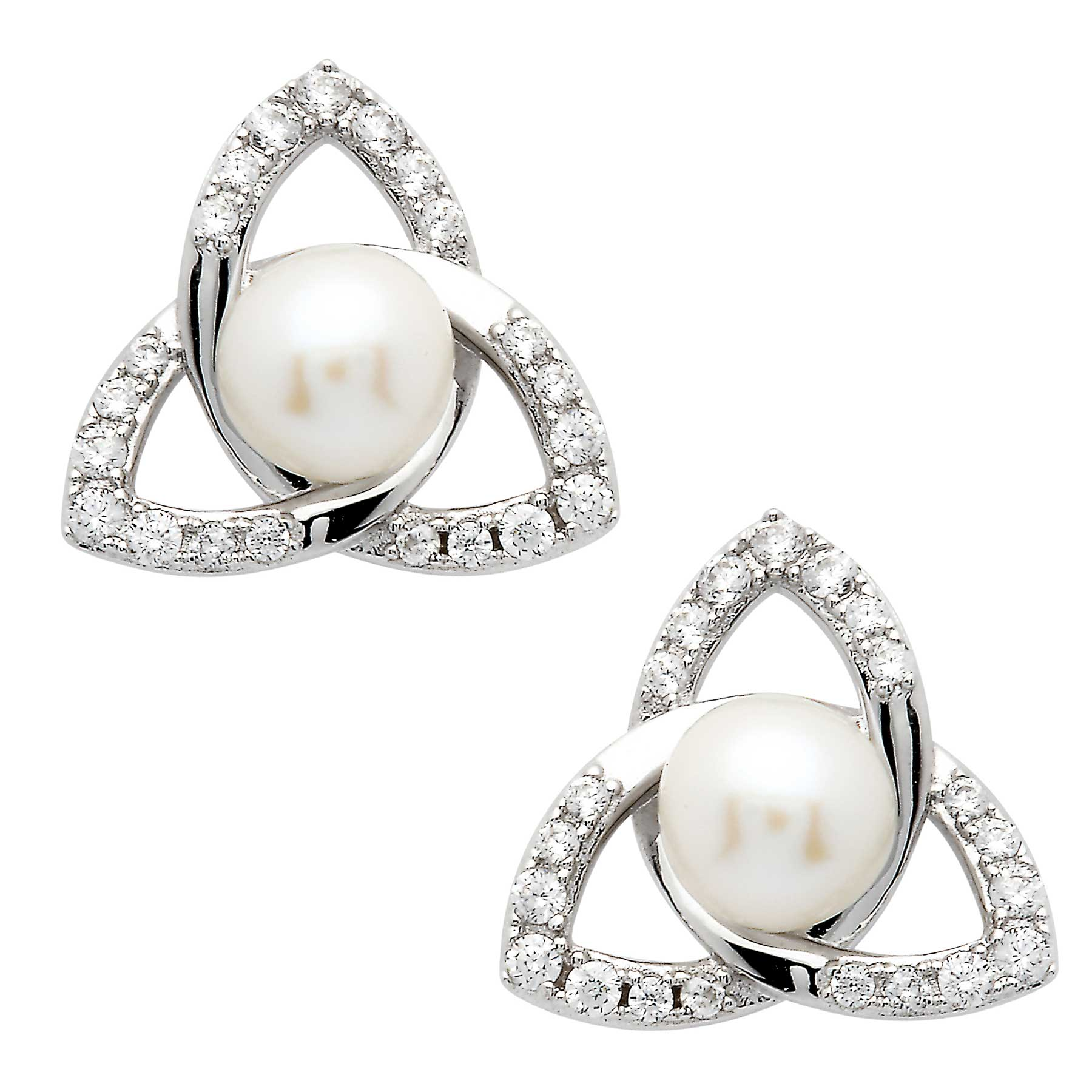 Irish Earrings | Sterling Silver Trinity Knot Crystal & Pearl Earrings