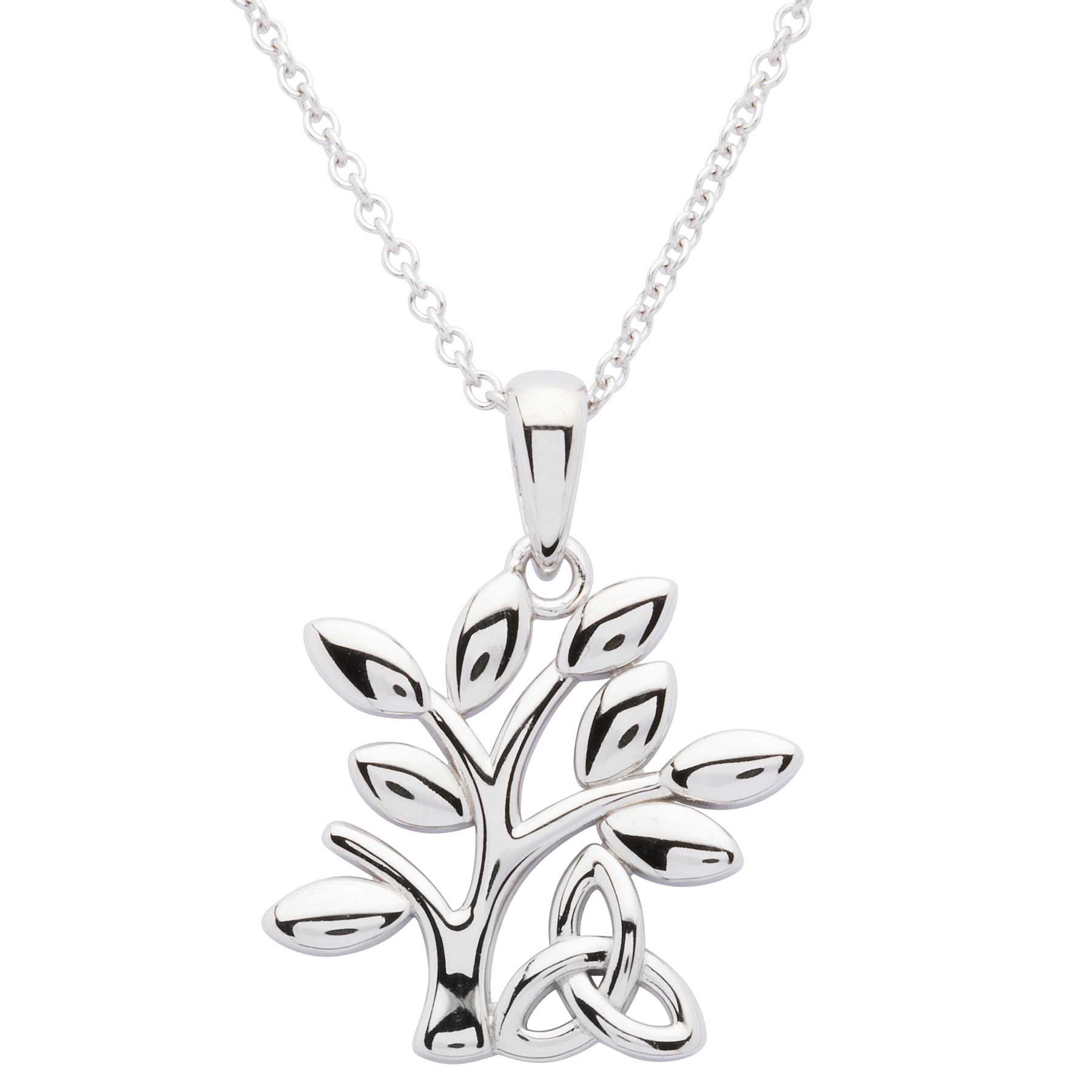 Irish Necklace | Sterling Silver Celtic Tree of Life Trinity Knot Pendant