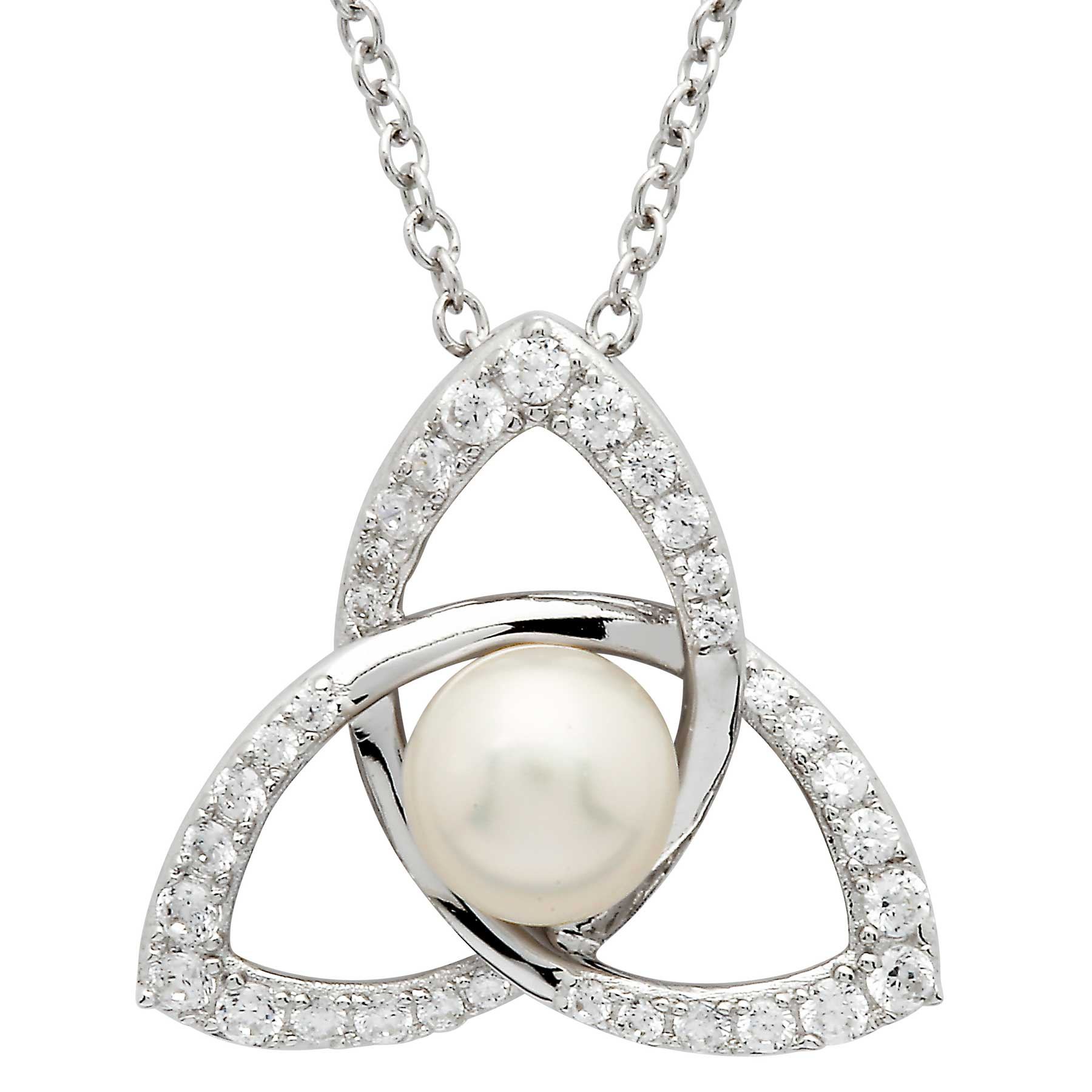 Irish Necklace | Sterling Silver Trinity Knot Crystal & Pearl Pendant