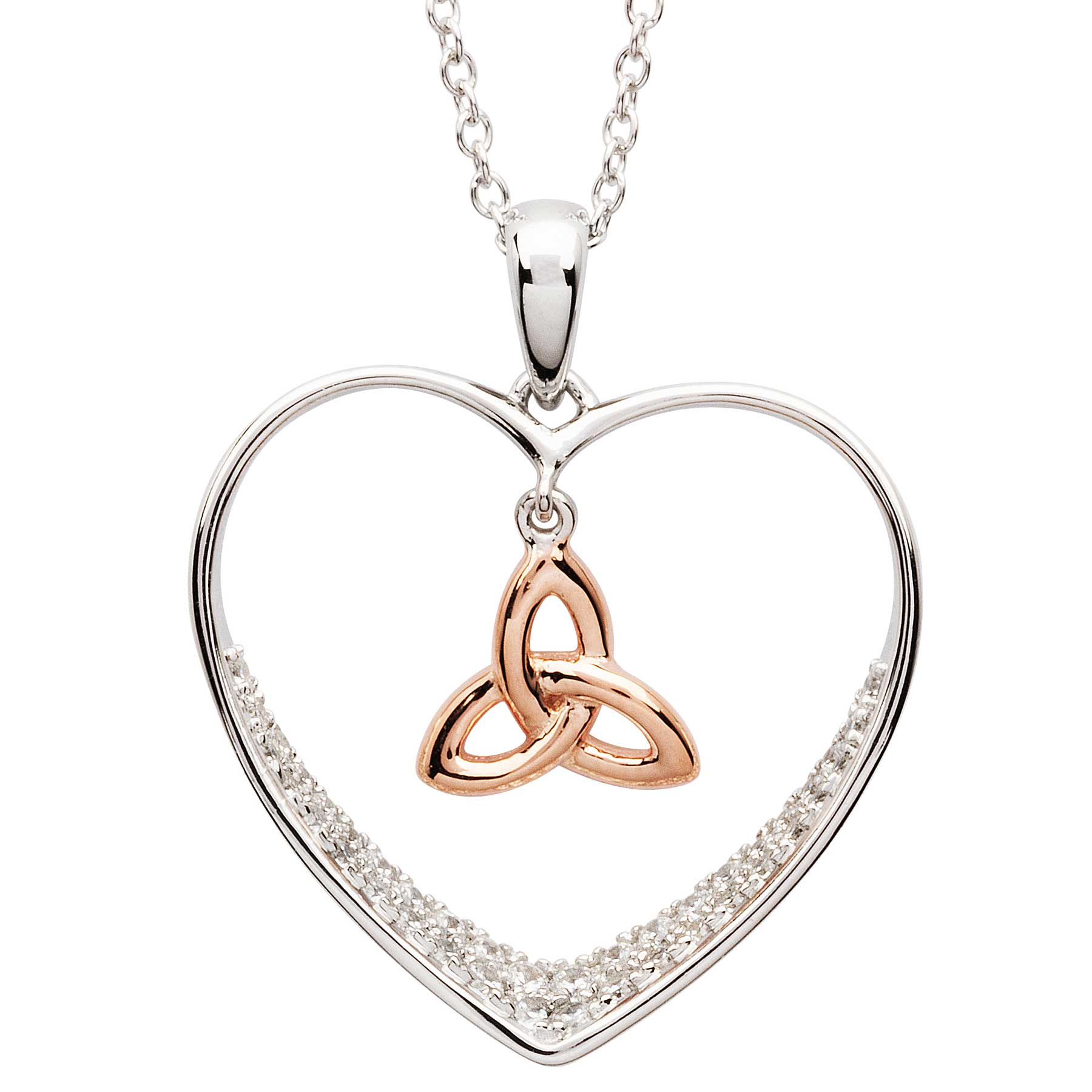 Irish Necklace | Sterling Silver Heart & Rose Gold Trinity Knot Crystal Pendant