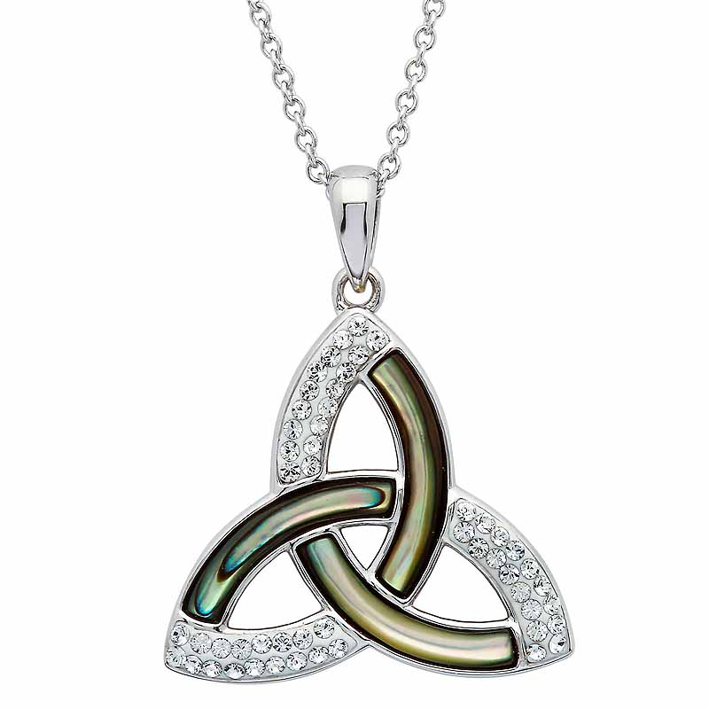 Irish Necklace | Sterling Silver Swarovski Crystal & Abalone Trinity Knot Pendant