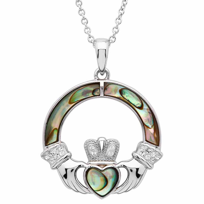 Irish Necklace | Sterling Silver Swarovski Crystal & Abalone Claddagh Pendant
