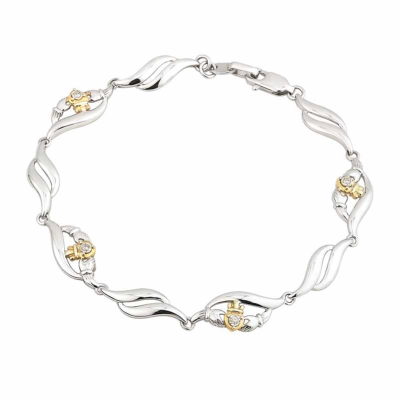 Irish Bracelet | Diamond Sterling Silver and 10k Yellow Gold Claddagh Bracelet