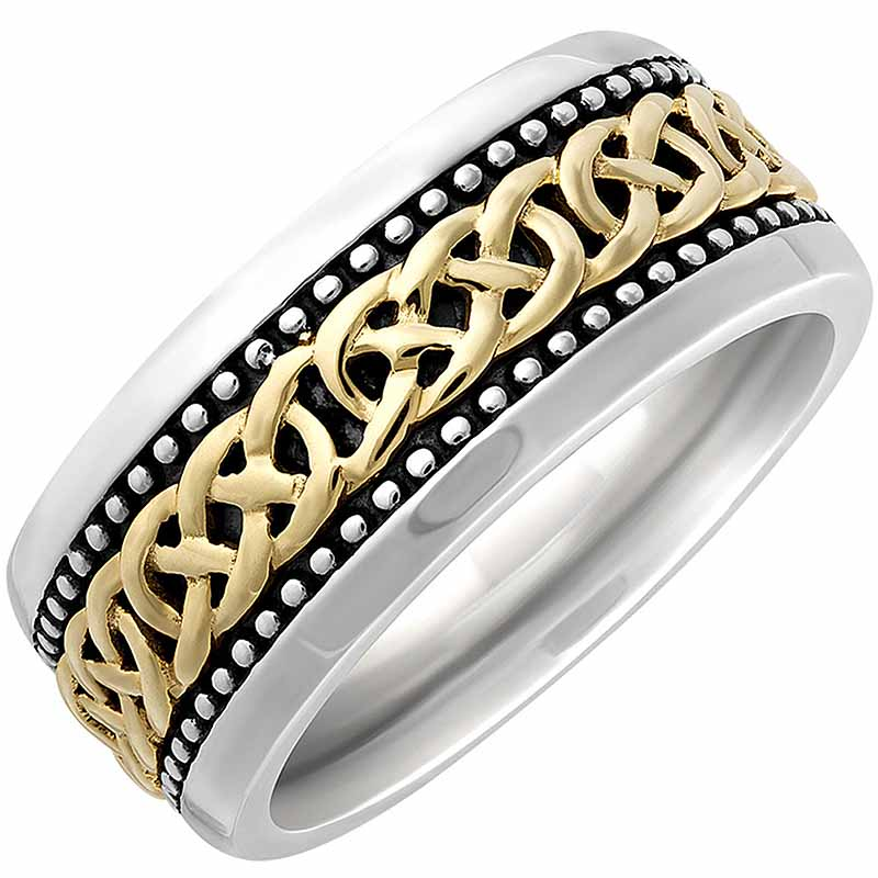 Irish Rings | 10k Gold & Sterling Silver Oxidized Large Celtic Knot Ring