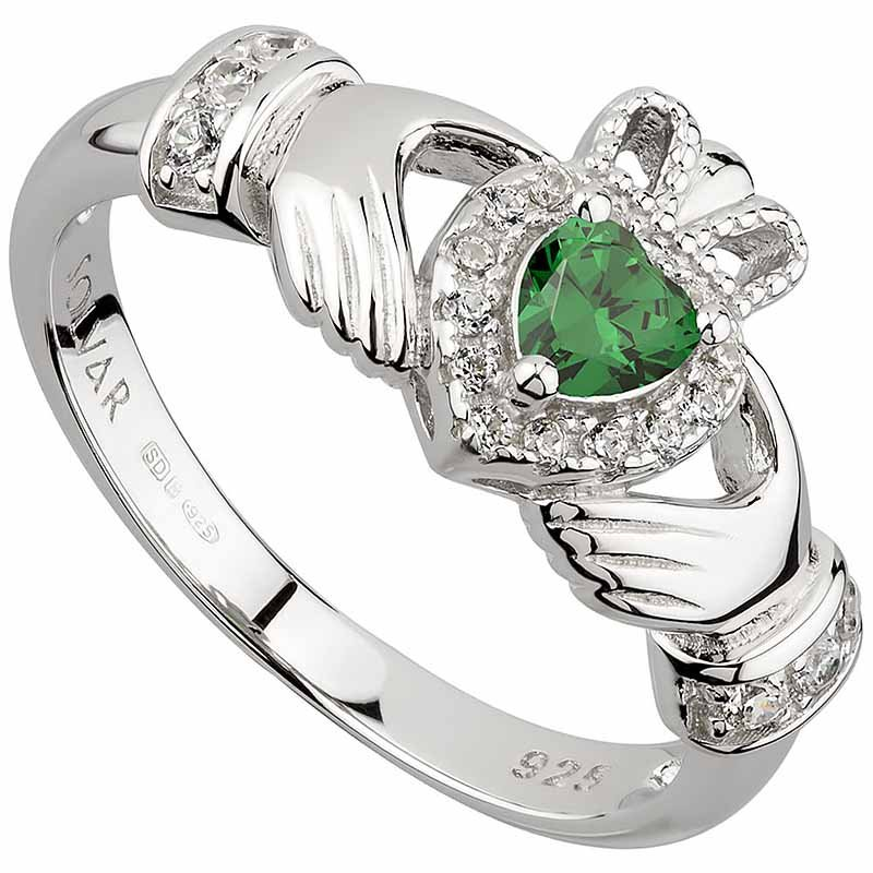 Irish Rings Sterling Silver Ladies Green Crystal Heart