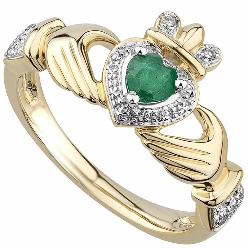 2975c0031 Irish Rings | 14k Gold Emerald & Diamond Ladies Claddagh Ring at ...