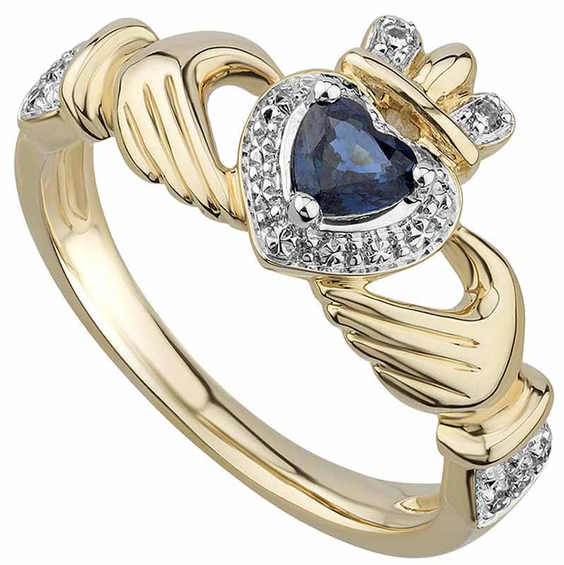 Irish Rings | 14k Gold Sapphire & Diamond Ladies Claddagh Ring