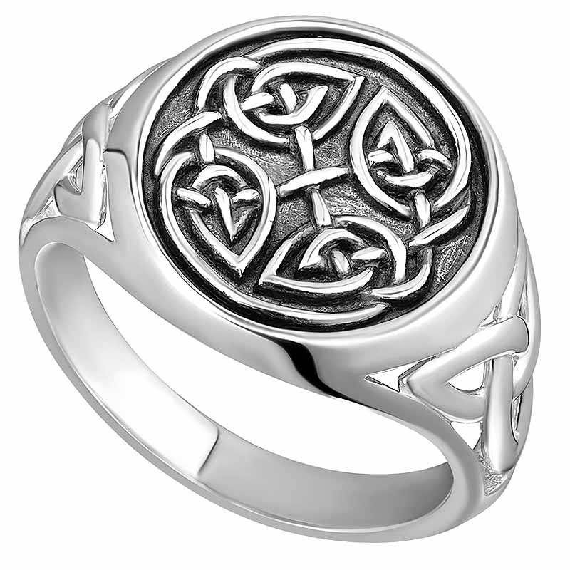 Irish Ring | Sterling Silver Oxidized Mens Celtic Knot Signet Ring