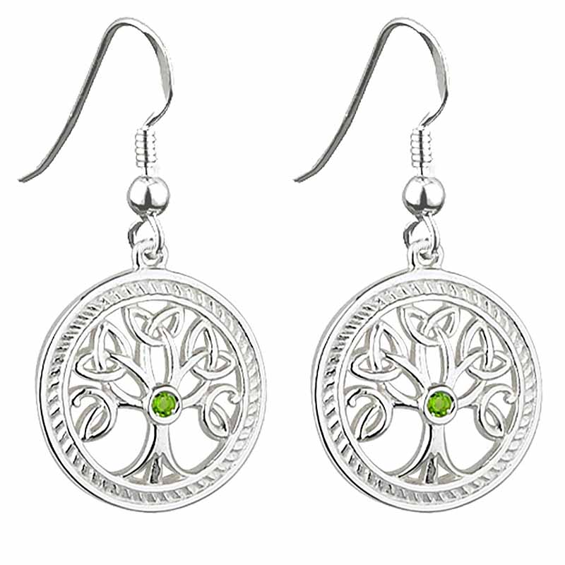 Irish Earrings | Sterling Silver Crystal Celtic Tree of Life Earrings