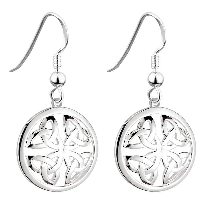 Irish Earrings | Sterling Silver Trinity Knot Circle Drop Celtic Earrings