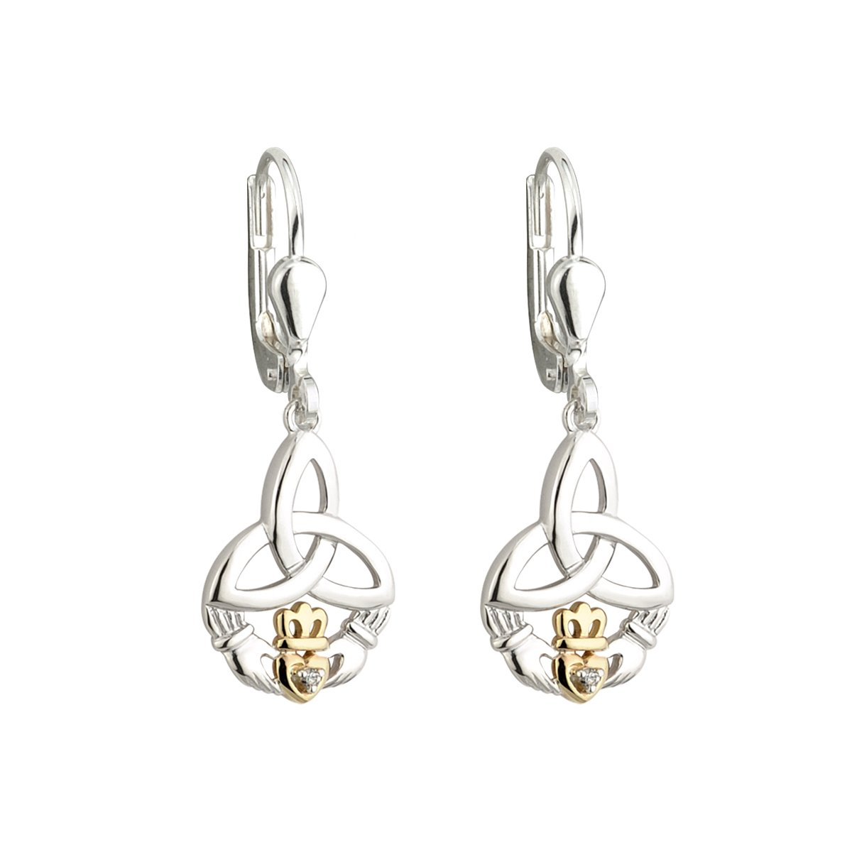 Irish Earrings | Diamond Sterling Silver and 10k Yellow Gold Drop Celtic Trinity Knot Claddagh Earrings