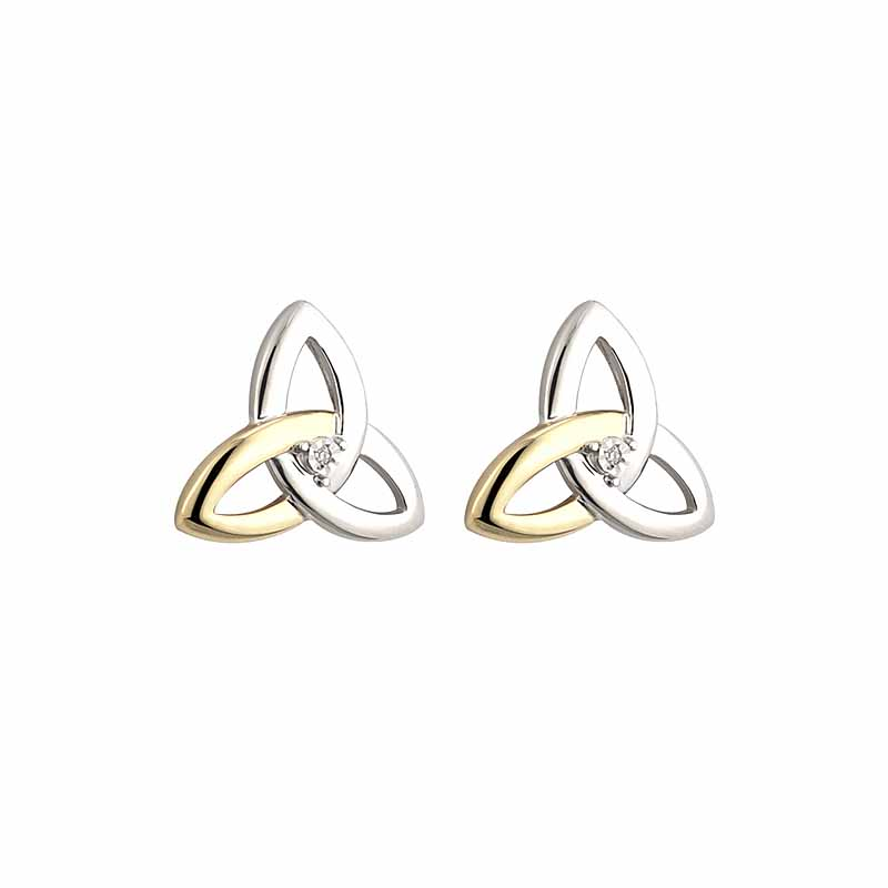 Irish Earrings | Diamond Sterling Silver and 10k Yellow Gold Stud Celtic Trinity Knot Earrings