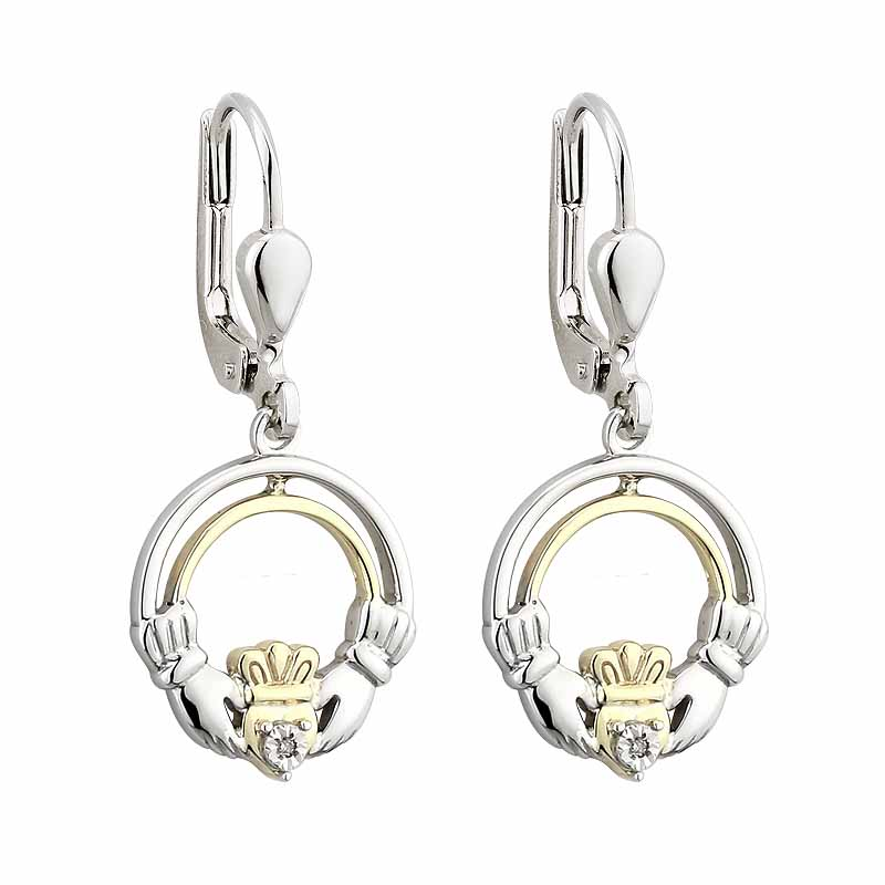 Irish Earrings | Diamond Sterling Silver and 10k Yellow Gold Open Drop Claddagh Earrings