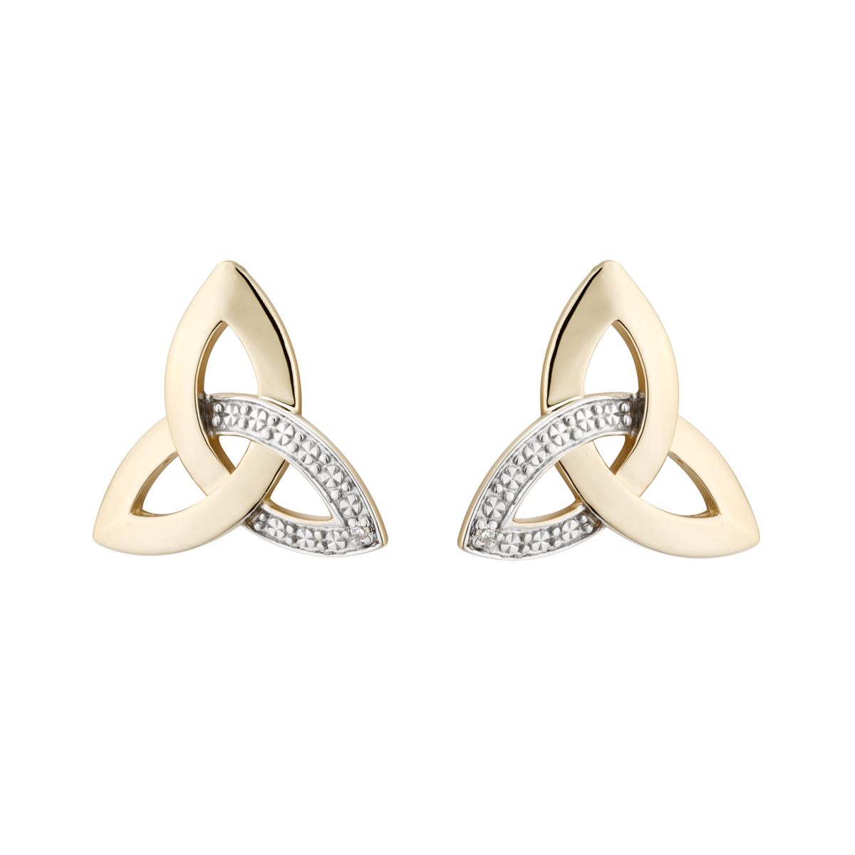 Irish Earrings | 14k Yellow Gold Stud Trinity Knot Diamond Earrings